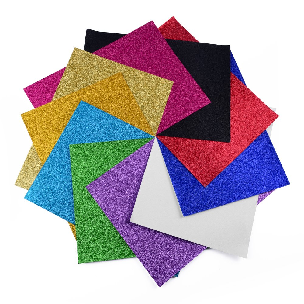 Self-Adhesive Sticky Coloured 10/Glitter Coloured Paper Paper Glitter Box Patchwork for Scrapbooking /& More 10/Sheets Glitter Paper Mixed Colour Code Stickers