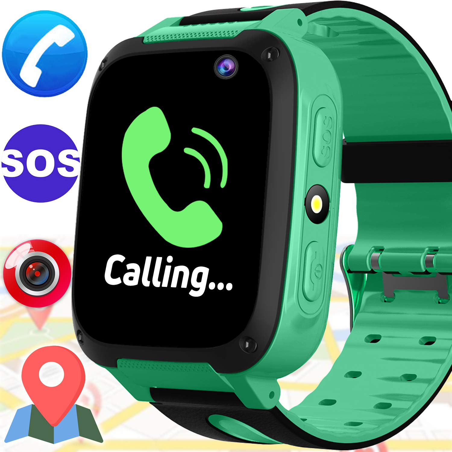 Kids Smart GPS Tracker Watch - Kids Phone Watch for Girls Boys with Cell Phone SOS Anti-Lost Camera Game Timer Touch Screen Children Smartwatch Outdoor Digital Wrist Watch for School Summer, Green
