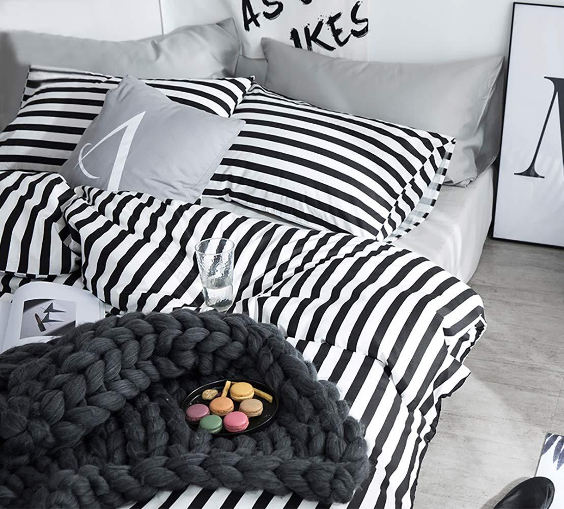 karever Black White Striped Duvet Cover Queen Vertical Ticking Stripe Bedding Full 3 PCs Cotton Comforter Cover Set for Boys Girls by karever (Image #4)