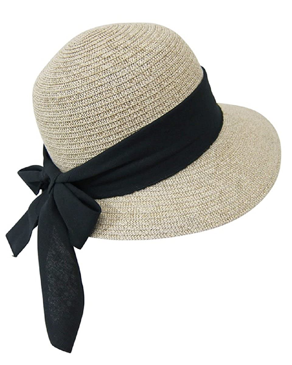 eb9379dc Straw Packable Sun Hat for Women - Wide Front Brim and Smaller Back - SPF  50 (Black Sash) One Size at Amazon Women's Clothing store: