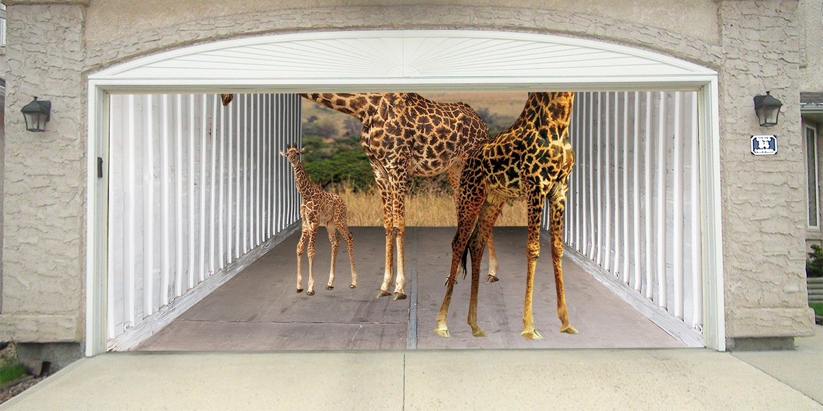 Re-Usable 3D Effect Garage Door Cover Billboard Sticker Decor Skin - Giraffes - Sizes to fit your Garage.