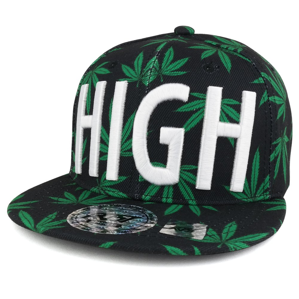 Trendy Apparel Shop Marijuana Leaf Print Flatbill Adjustable Snapback Cap  with 3D Embroidery - HIGH at Amazon Men s Clothing store  761d9acd3956