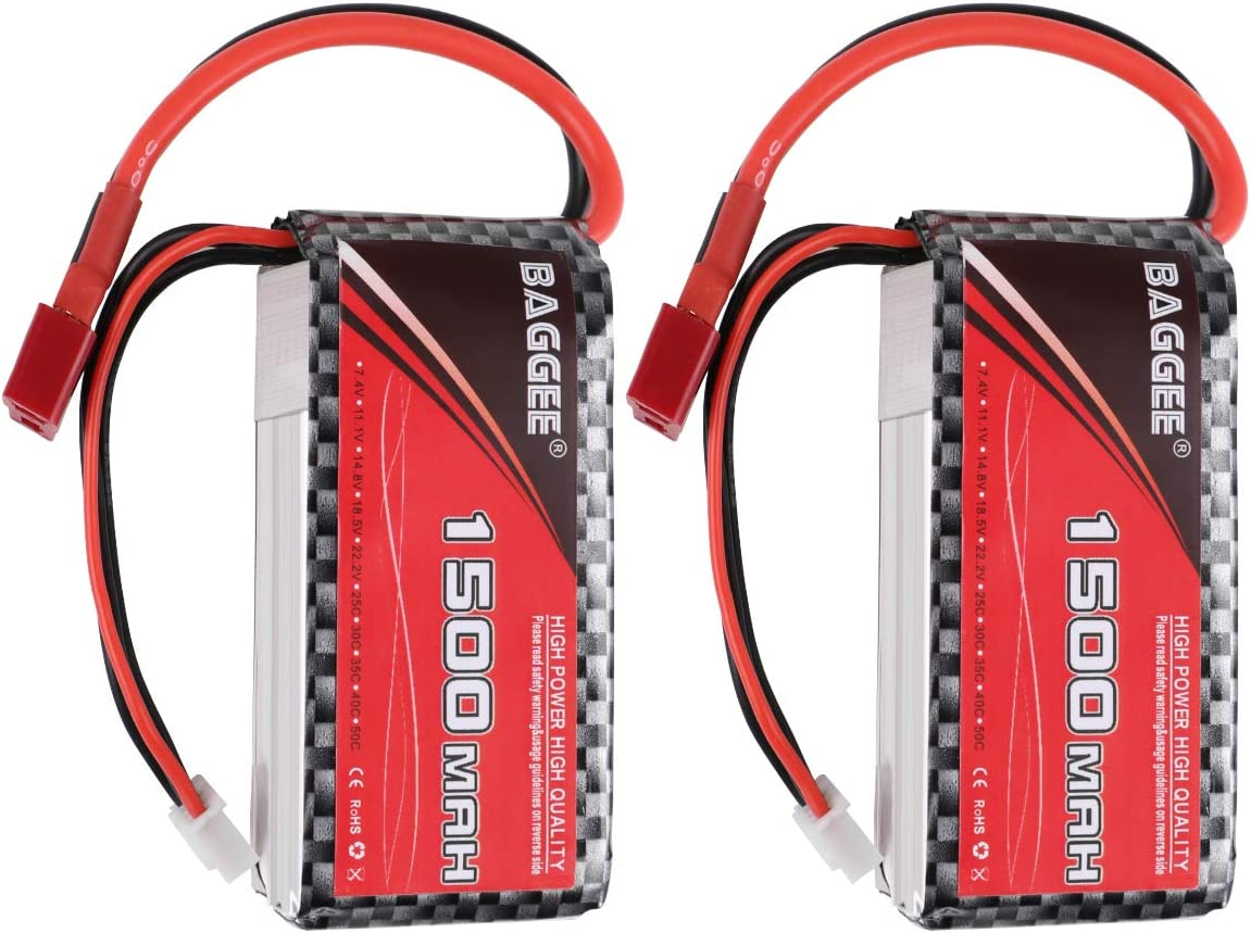 FancyWhoop 1500mAh 3S Lipo Batería 11.1V 25C Paquete de Batería RC Recargable con Conector T Deans Conector RC Coche Barco Camión Heli Avión UAV Drone FPV Racing 2PCS