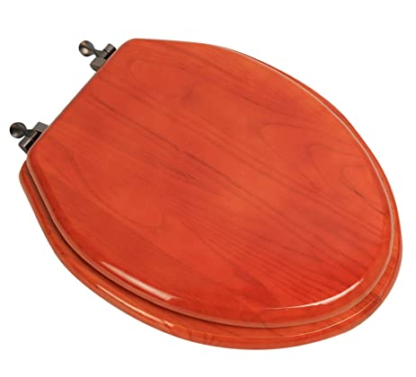 Bath Décor 5F1E2 15OB Elongated Toilet Seat In Traditional Design American  Red Oak With Oil