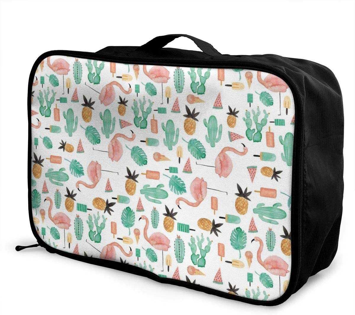 Summer Flamingo Travel Carry-on Luggage Weekender Bag Overnight Tote Flight Duffel In Trolley Handle