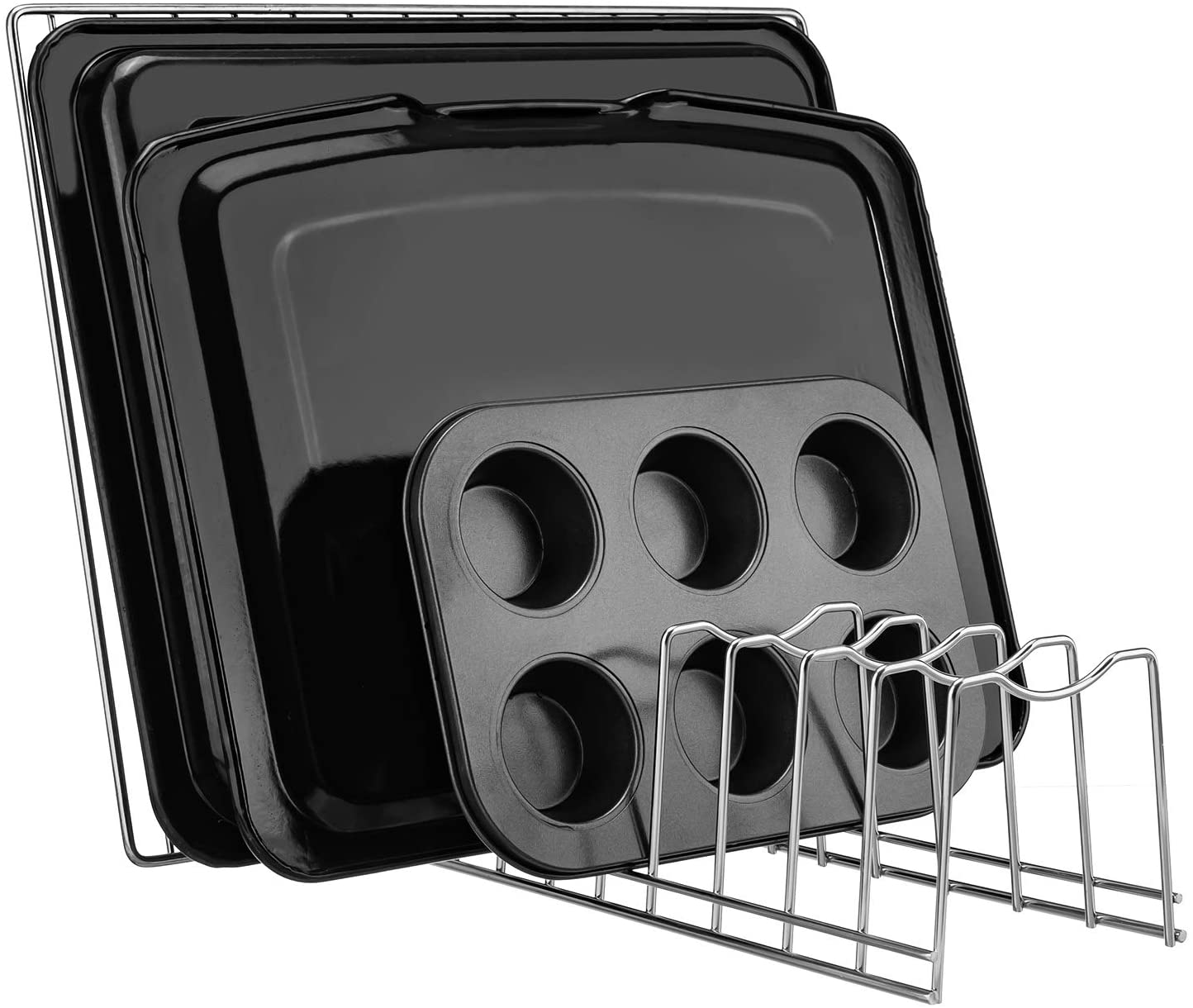 Kitchen Pot Lid Holder Organizer, Rack Cutting Boards, Bakeware, Reusable Containers, Plates (2): Home Improvement