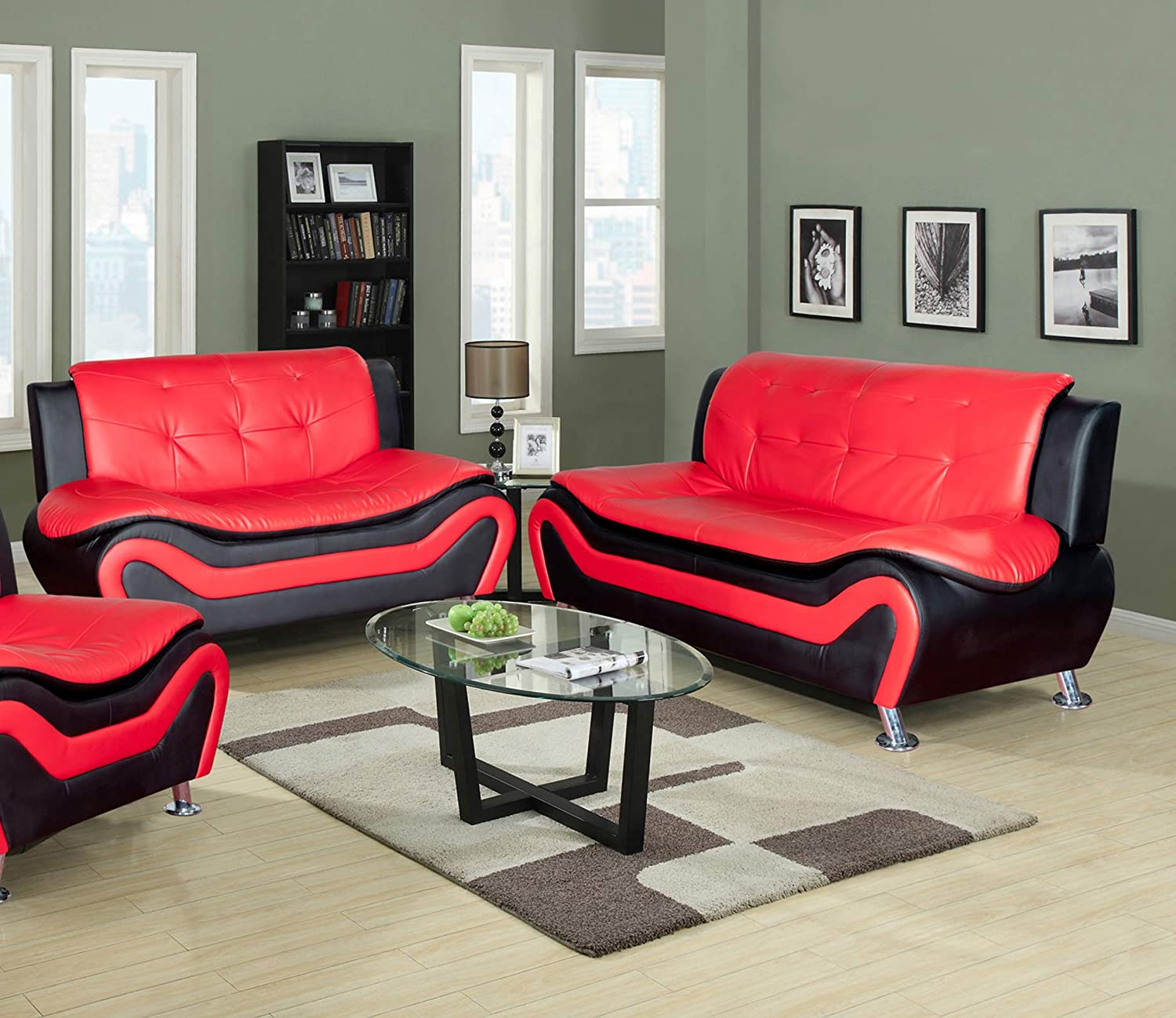 Amazon com lifestyle furniture 2 pieces aldo modern living room sofa and loveseatfaux leatherred blackls4503 2pc kitchen dining