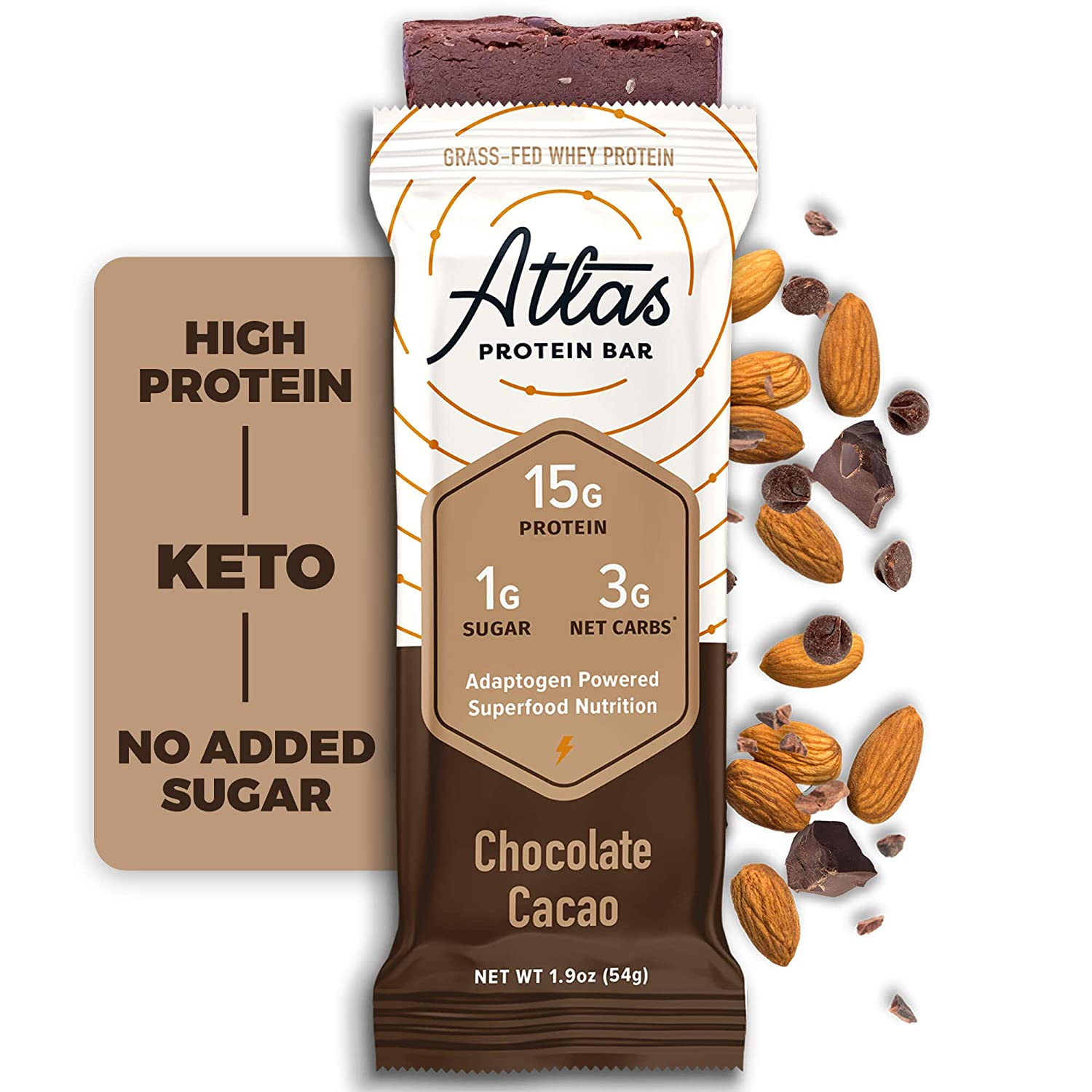 Atlas Protein Bar, Meal Replacement, Keto-Friendly Snack, Grass-Fed Whey, Organic Ashwagandha, Low Sugar, Low Carb, Gluten Free, 10 pack, Chocolate Cacao