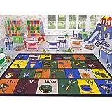 Ottomanson Jenny Collection Children's Multi Color Educational Alphabet (Non-Slip) Kids Classroom Area Rugs, 8'2 X 9'10, Multicolor