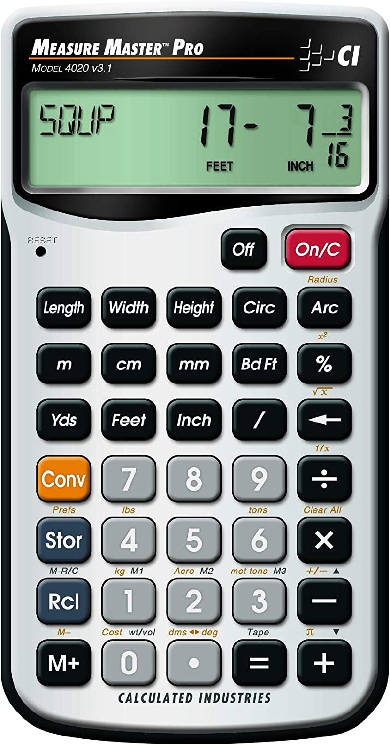 Calculated Industries 4020 Measure Master Pro Feet Inch Fraction And Metric Construction Math Calculator Tools Products