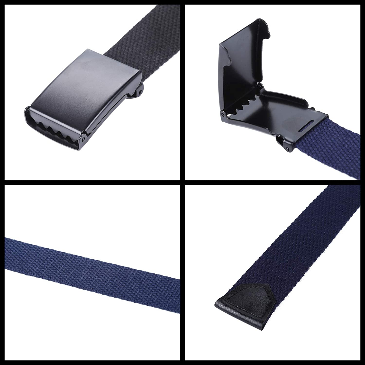 Cut To Fit Adjustable Belts 2Pcs Navy Blue, 35 90CM 2Pack Uniform Belt with Flip Top Buckle for Kids Boys Girls Boys Mans Canvas Web Belts