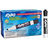 EXPO Low-Odor Dry Erase Markers, Chisel Tip, Black, 12-Count