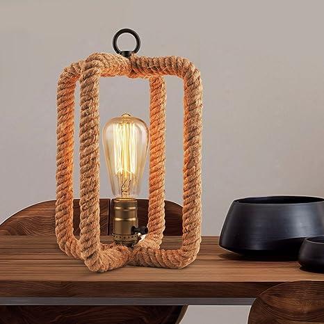 CJSHV-Lámpara de mesa Cuerda American Dormitorio Living ...