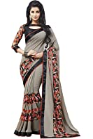 Lajree Designer Women's Georgette Saree With Blouse Piece (Saree For Women Designer _A, Grey, Free Size)