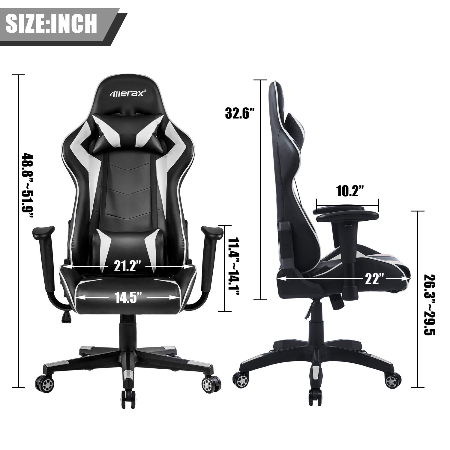 Merax Gaming Chair Computer Home Desk Chair Racing Comfy Office Chair Ergonomic High Back Reclining Executive Chair Comfortable for Gamers Teens/Adult/Kids (Black&Cotton White: Max 245lbs) by Merax