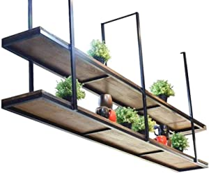 WYFZT Ceiling Hanging Shelf Cube Floating Shelves Suspended Plant Pot Stand Flower Stand Personality Bar Kitchen Pot Pan Rack Storage Shelving Unit Iron Art Decorative, 2-Tier (Size : 130×30×80cm)