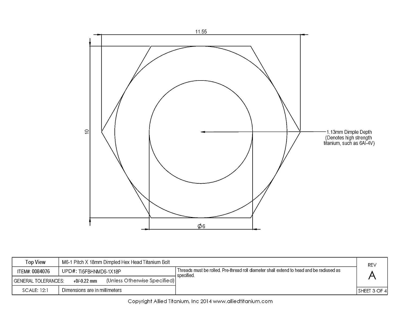 Pack of 12 Ti-6Al-4V M6-1 Pitch X 18mm Titanium Dimpled Hex Head Bolt Allied Titanium 0084076, Grade 5