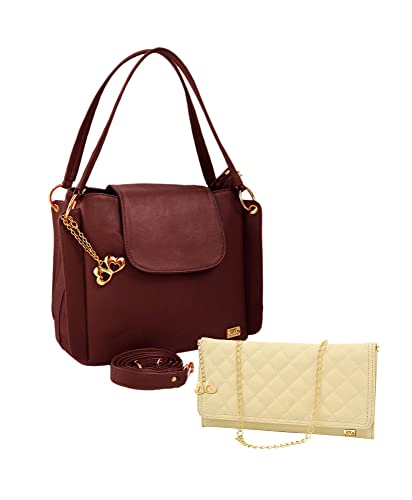ac77b7a6252e ANGLOPANGLO Victoria Brown Imported Genuine leatherette Bag for Girls and Women  with Quilting Sling Combo  Amazon.in  Shoes   Handbags