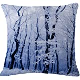 JES&MEDIS Snow Cover the Pine Trees Printed Customize Decorative Winter Cushion Cover Pillow Case