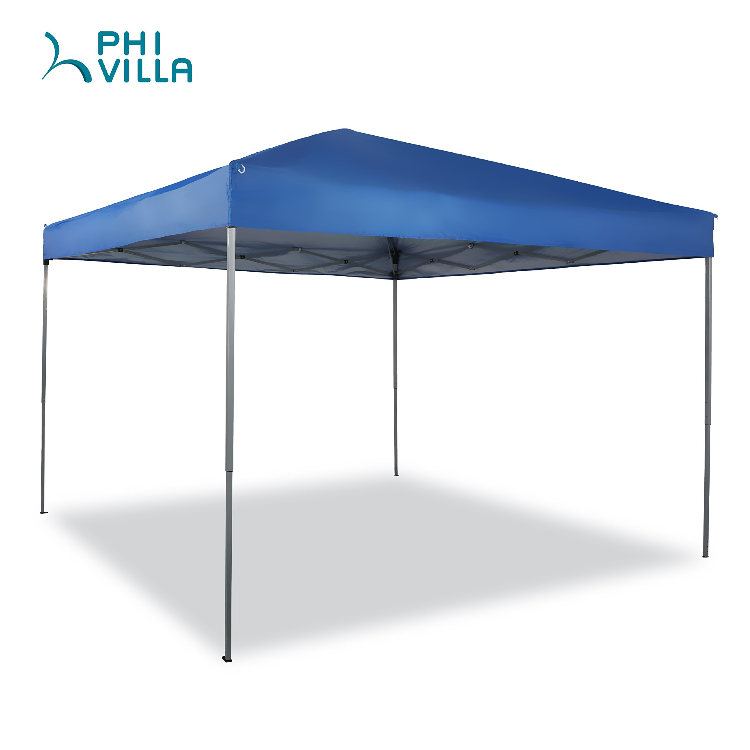 PHI VILLA 10 x 10 ft Portable Pop-Up Canopy Straight Leg, 100 Sq. Ft of Shade, Blue