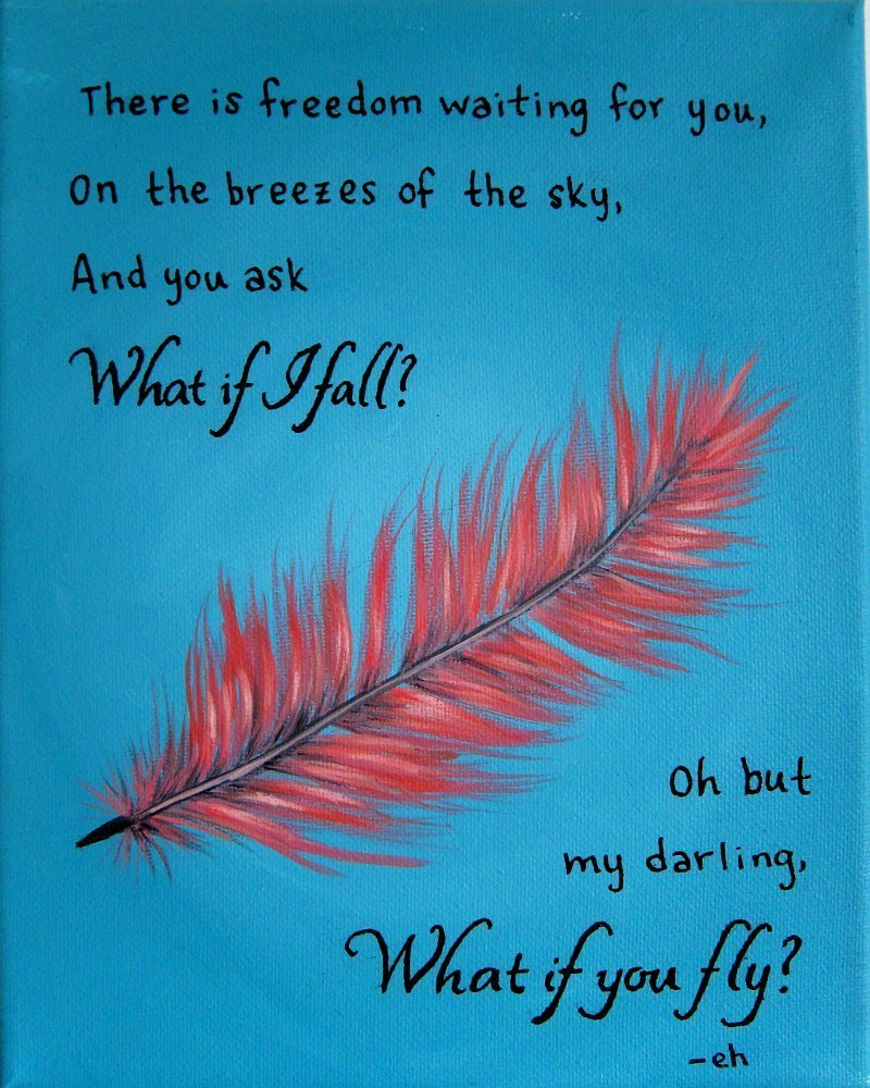 What if I Fall Oh but My Darling What if You Fly Quote Artwork  Inspirational Wall Art Print
