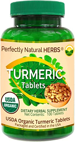 Organic Turmeric Tablets, USDA Certified, 500 mg, 100 per Bottle by Perfectly Natural Herbs