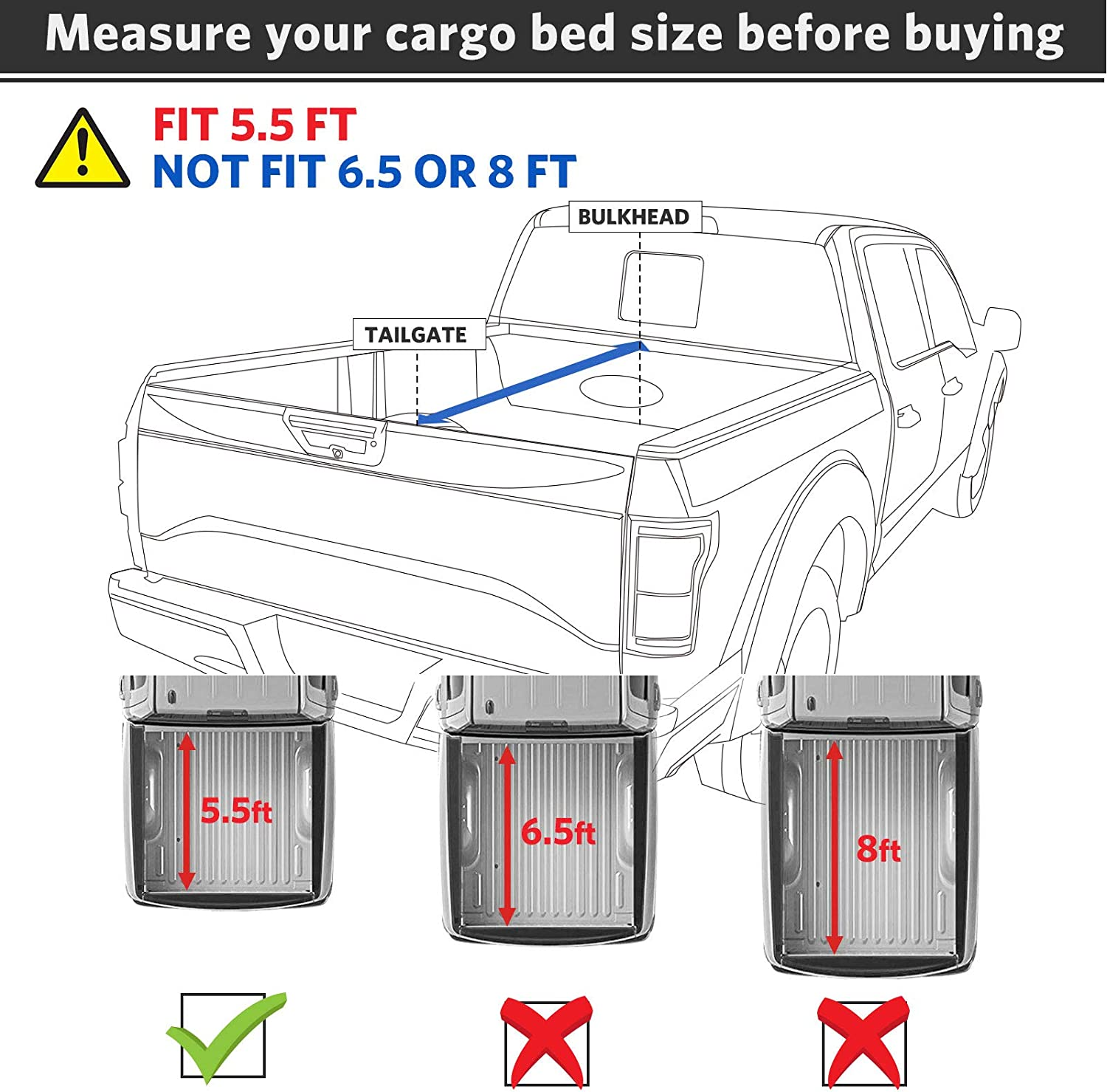 Tonneau Covers Automotive Oedro Upgraded Soft Tri Fold Truck Bed Tonneau Cover On Top Compatible For 2009 2014 Ford F150 F 150 With 5 5ft Bed Styleside