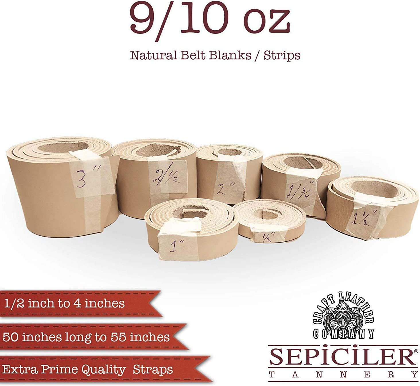 Import Tooling Leather 9//10 oz Natural Belt Blanks//Strips from Exclusive Vegetable Tanned Leather by Sepici Tannery 2-1//2 x 50