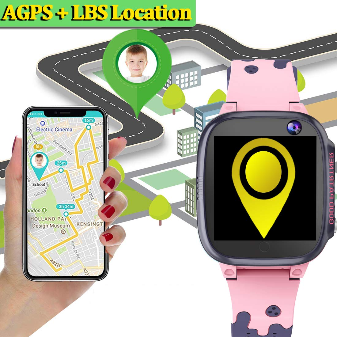MiKin Children Smart Watches for Girls Boys Age 3-12 Kids Smartwatch Phone with GPS Tracker 2 Way Call SOS Remote Camera Touch Screen Alarm Clock Flashlight Voice Chat Gizmo Wrist Watch Android iOS by MiKin (Image #2)