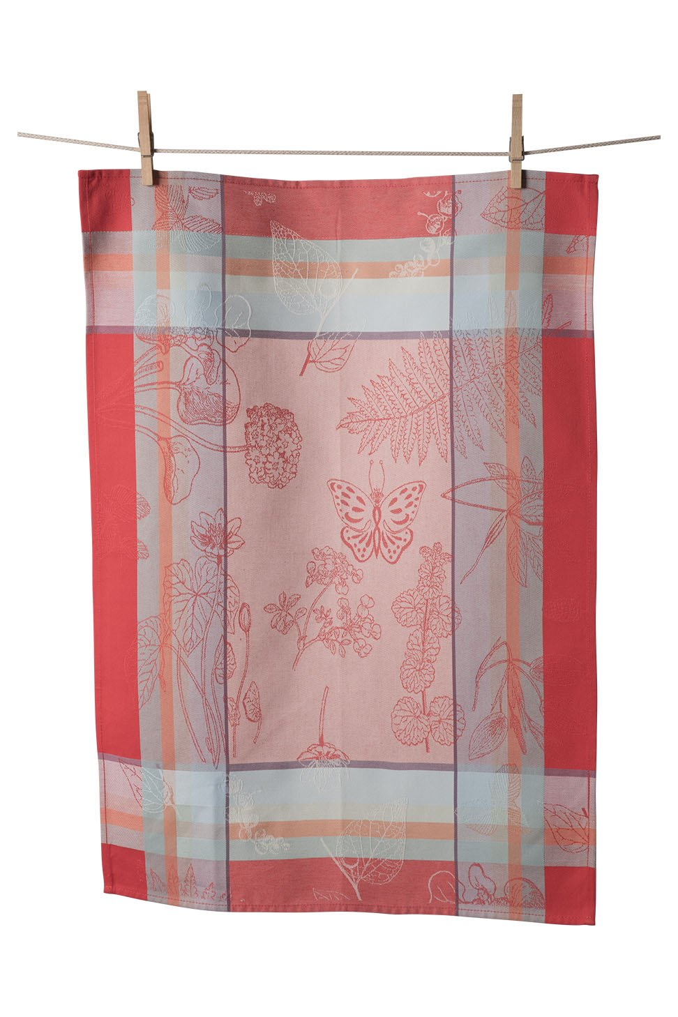 KAF Home Porto Jacquard Kitchen Towel, 100% Cotton, Absorbent, Oversized at 19.5'' x 30'', Made in Portugal, Butterflies