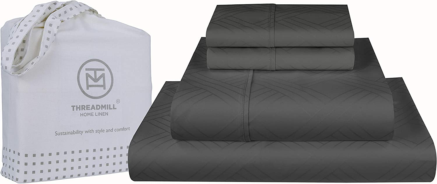 800-Thread-Count Jacquard Celine 100% Cotton Sheets & Pillowcases Damask Set - 4 Piece Extra-Long Staple Combed Cotton Sateen King Size Sheets Luxury Bedding Deep Pocket, Dark Grey