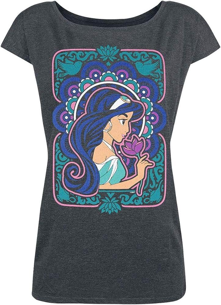 Aladdin Jasmin - Flower Power Mujer Camiseta Gris/Melé S, 50% algodón, 50% poliéster, Ancho: Amazon.es: Ropa y accesorios
