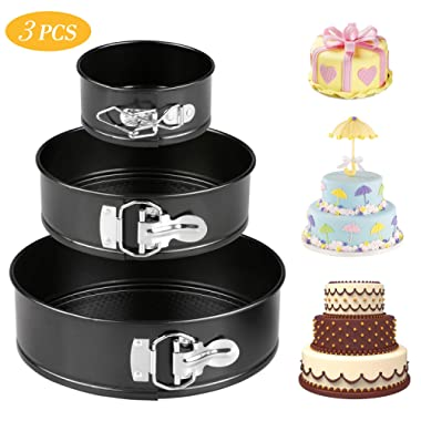 Cake Pans, Tedgem 3 Sizes of High-carbon Steel Springform Pans Set,Includes 4 , 7  and 9 ,Round Cake Pan Set Non-stick & Leakproof Bakeware Cheesecake Pan with Quick Release Clips & Removable Bottom