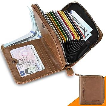 f2f0827cc18d13 Geldbörse Herren Leder RFID Schutz BTNEEU Kleine Geldbeutel Männer  Reißverschluss und Münzfach, Brieftasche Herren Klein