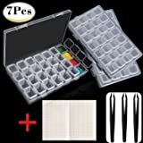 Outee 3 Pack 28 Grids Diamond Embroidery Box 5D Diamond Painting Accessories Storage Box with 3 Pack Tweezers and 168 Pieces Craft Label Marker Sticker