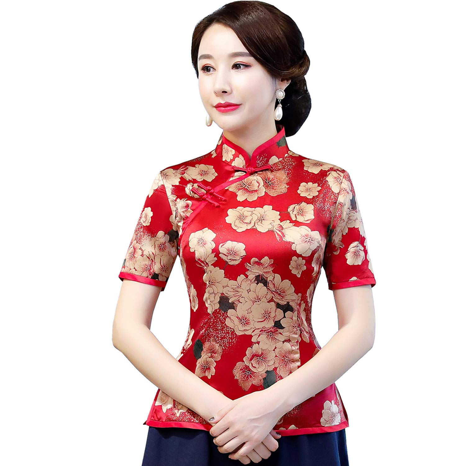 huge inventory hot-selling authentic cozy fresh Shanghai Story Short Sleeve Cheongsam Top Faux Silk Chinese Blouse Qipao  Shirt