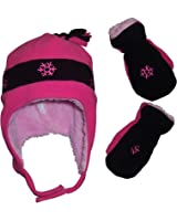 N'Ice Caps Little Girls and Baby Snow Embroidered Fleece Hat and Mitten Set