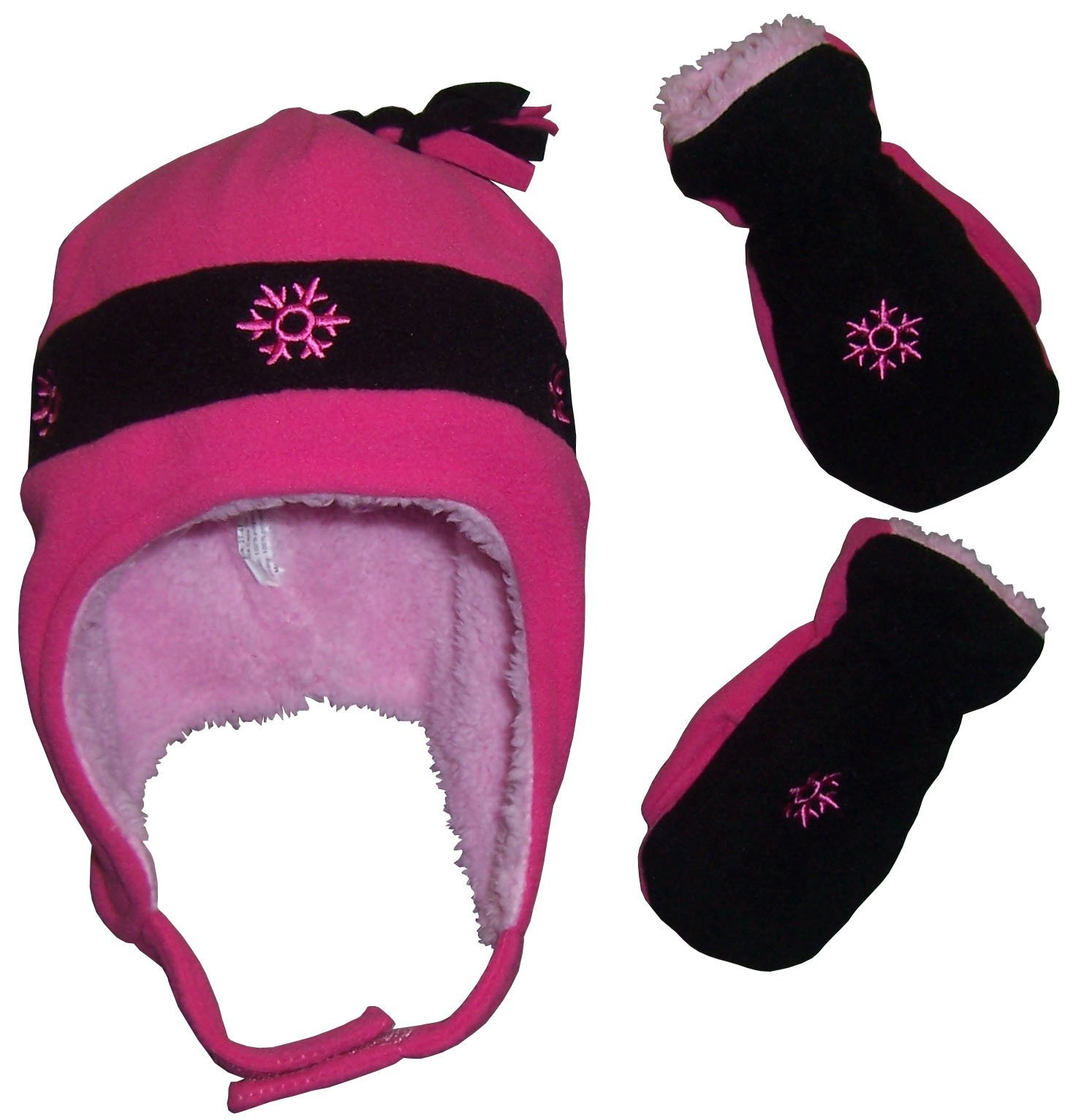 N'Ice Caps Girls Snow Embroidered Sherpa Lined Micro Fleece Hat and Mitten Set (18-36 Months, Fuchsia/Black)