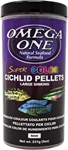 Omega One Super Color Sinking Cichlid Pellets, 4mm Large Pellets, 9 oz