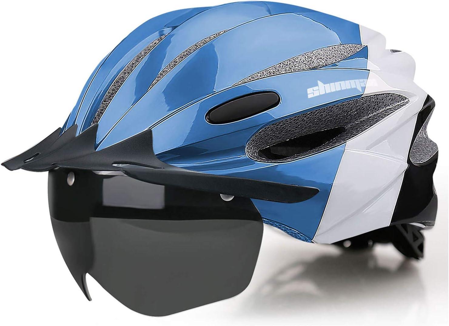 Shinmax Casco de Bicicleta con luz LED Casco de Ciclismo con Luz USB Recargable Visera Solar extraíble magnéticas Desmontables Casco de Bicicleta BMX Tamaño Ajustable Casco de Ciclismo para Adultos.