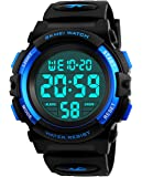 Boys Digital Watches, Kids Sports 5ATM Waterproof Watch with Alarm/Timer/EL Light,Blue Childrens Outdoor Digital Watch for Teenagers Boys