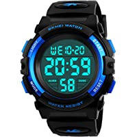 Boys Digital Watches, Kids Sports 5ATM Waterproof Watch with Alarm/Timer/EL Light,Blue Childrens Outdoor Digital Watch for Teenagers Boys by BHGWR
