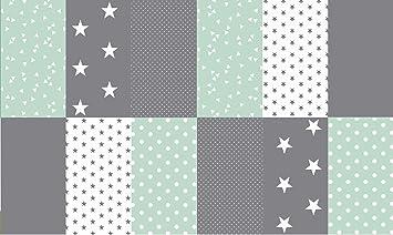 Baumwollstoff Sterne  in 12 Farben 0,50 x 1,50