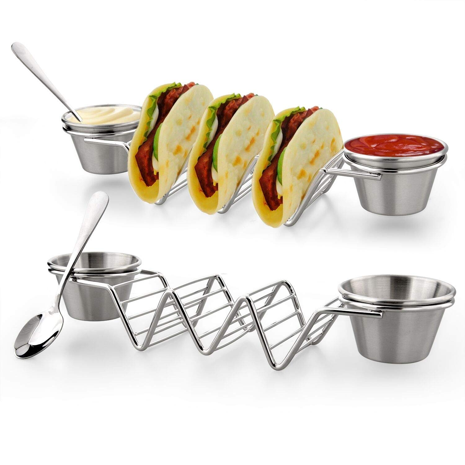 Upgrade Taco Shell Stand Up Holder - 2 Pack Premium Stainless Steel Taco Tray with 4 Salad Cups & 2 Spoons,Holds 3 Tacos Each Keeping Shells Upright & Neat