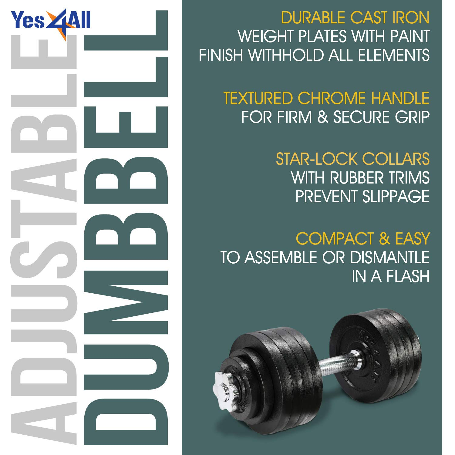 Yes4All Adjustable Dumbbells - 52.5 lb Dumbbell Weights (Single) by Yes4All (Image #5)