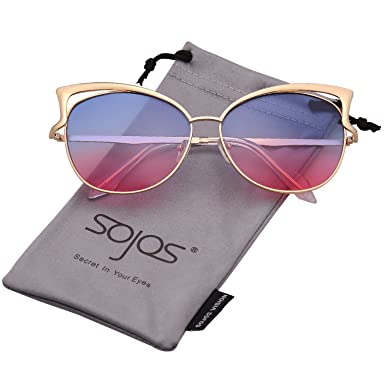 647598233a7 SojoS Fashion Cat Eye Style Metal Frame Women Sunglasses Lady Glasses  SJ3163 With Gold Frame