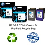 Black & Tri-Color Inkjet Cartridge HP 56/57 Combo Set w/Prepaid Recycle Bag