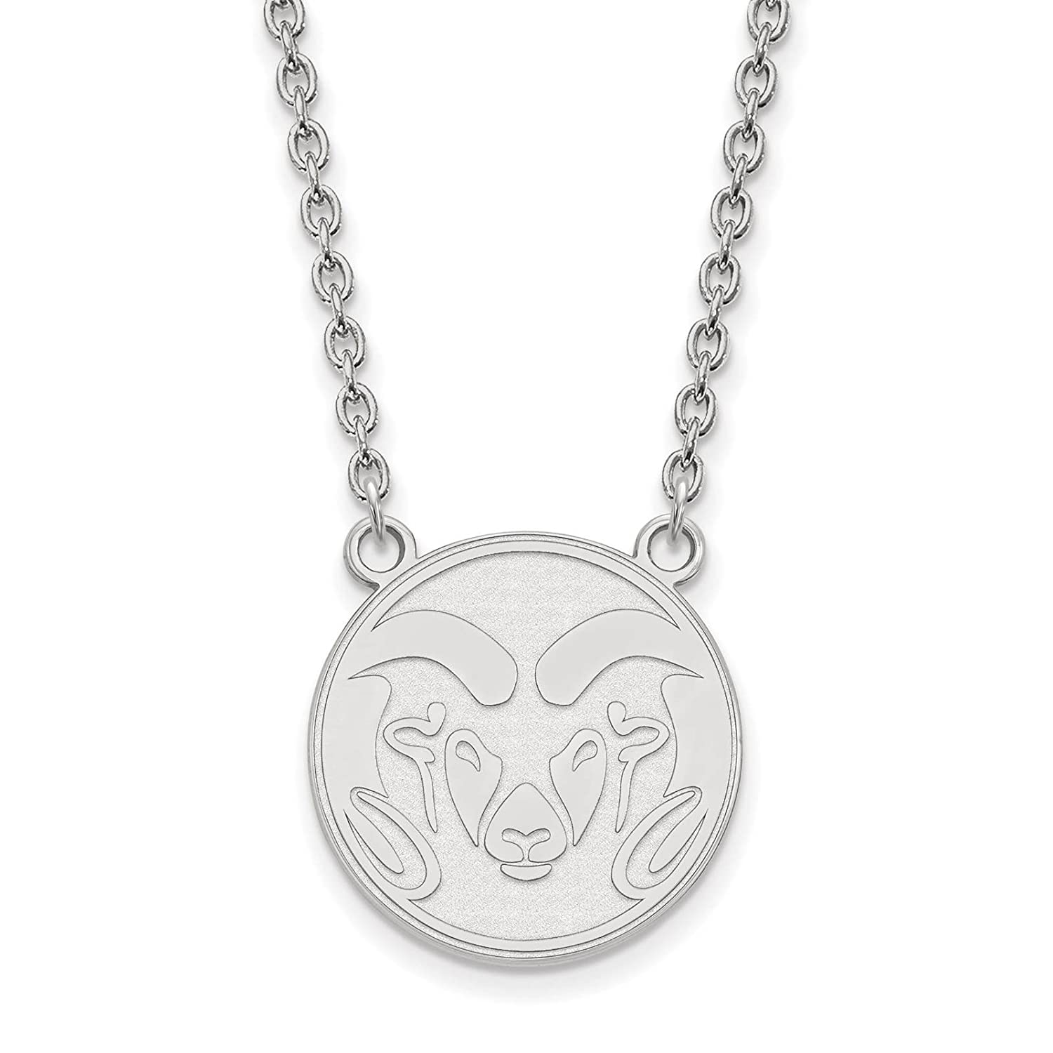 925 Sterling Silver Rhodium-plated Laser-cut Colorado State University Large Pendant w//Necklace 18