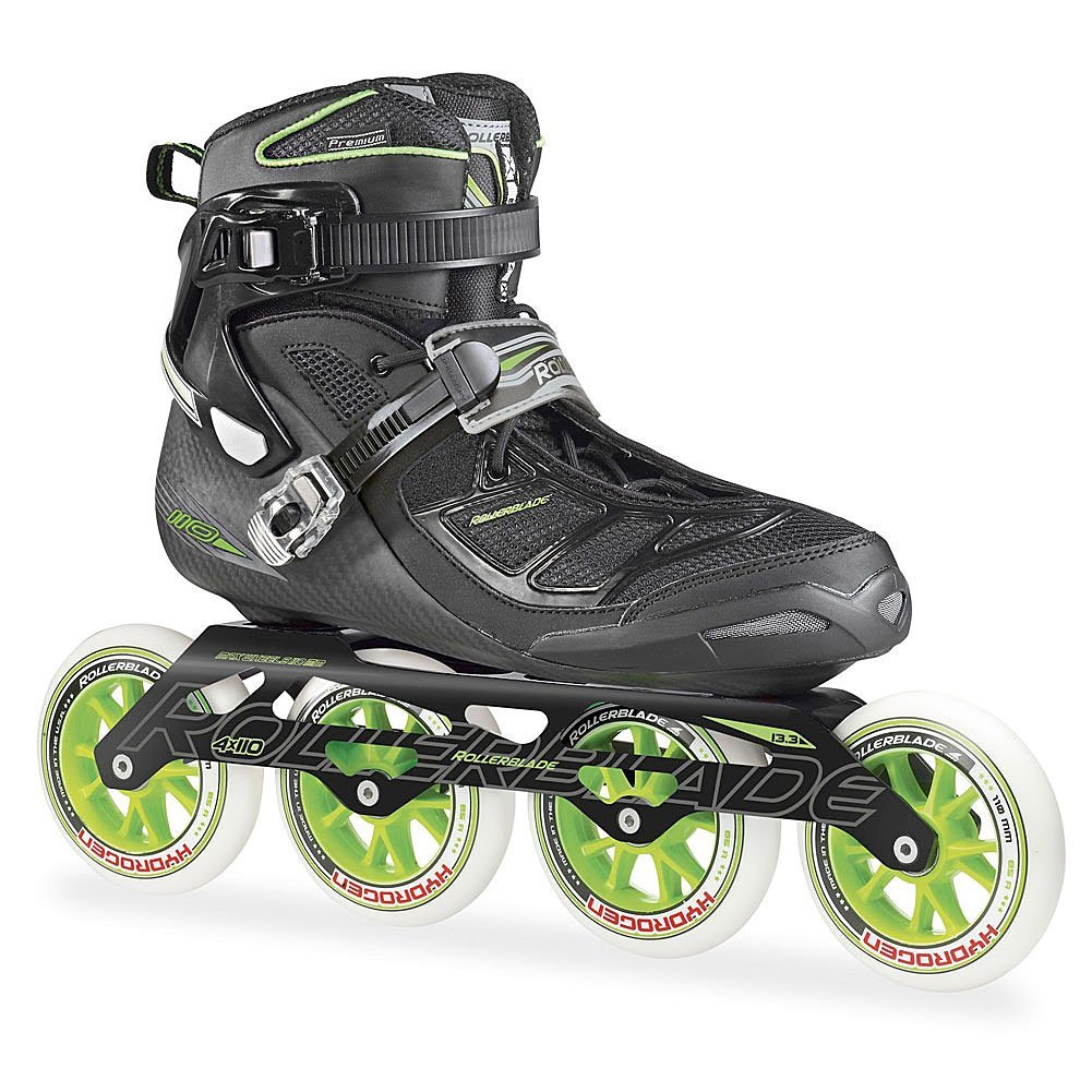 Rollerblade 2015 Tempest 110C Premium Fitness/Race Skate with 4x110mm US Made Hydrogen Wheels - HTO PRO Super Precise Bearings, Black/Green, US Men 12.5
