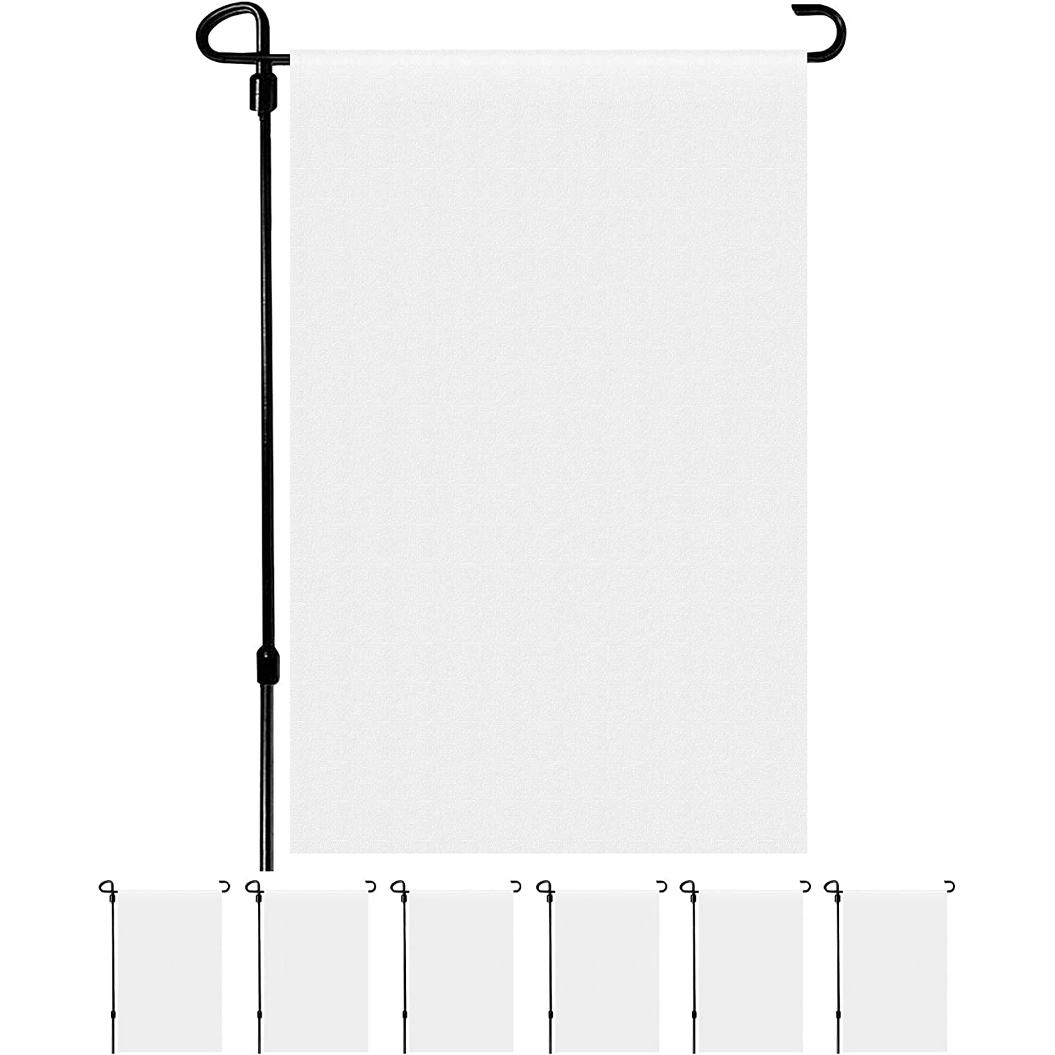 HawHawToys Blank Garden Flags, Solid White Garden Flag for Indoor Outdoor Decoration and Yard Garden Parade Banners DIY Use (11.8 x 17.7 Inches) (12)